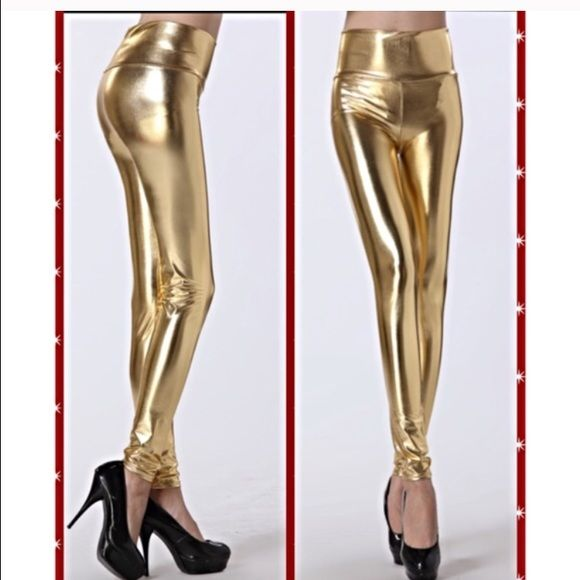 High waisted gold leggings.  New in package small New in package size small. High waisted gold leggings. Polyester and spandex. Machine washable. Says one size fits most but I would say a 4-8. Pants Leggings