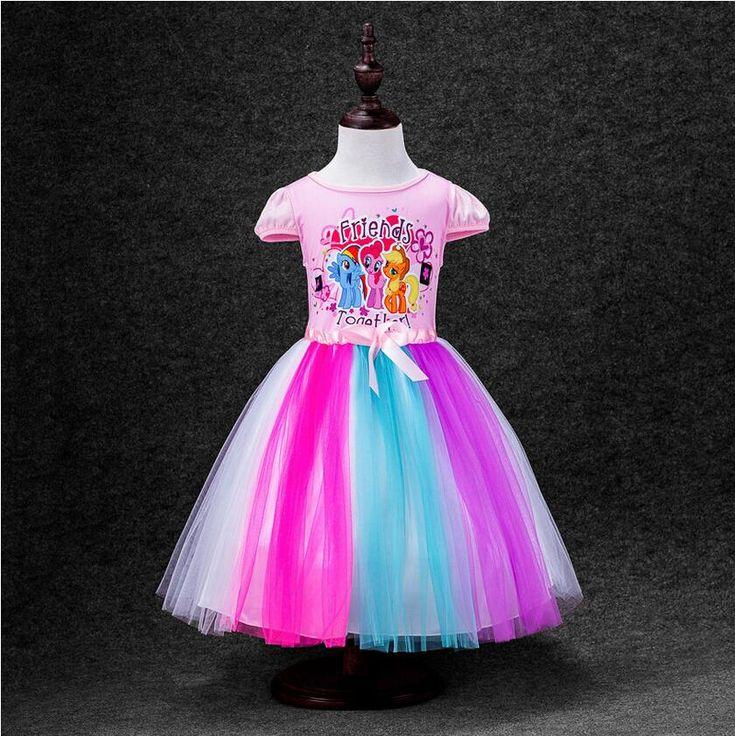2-8 años grandes muchachas de los cabritos vestido My Little Pony arco iris de la muchacha Vestidos princesa de las muchachas para los niños Vestidos traje(China (Mainland))