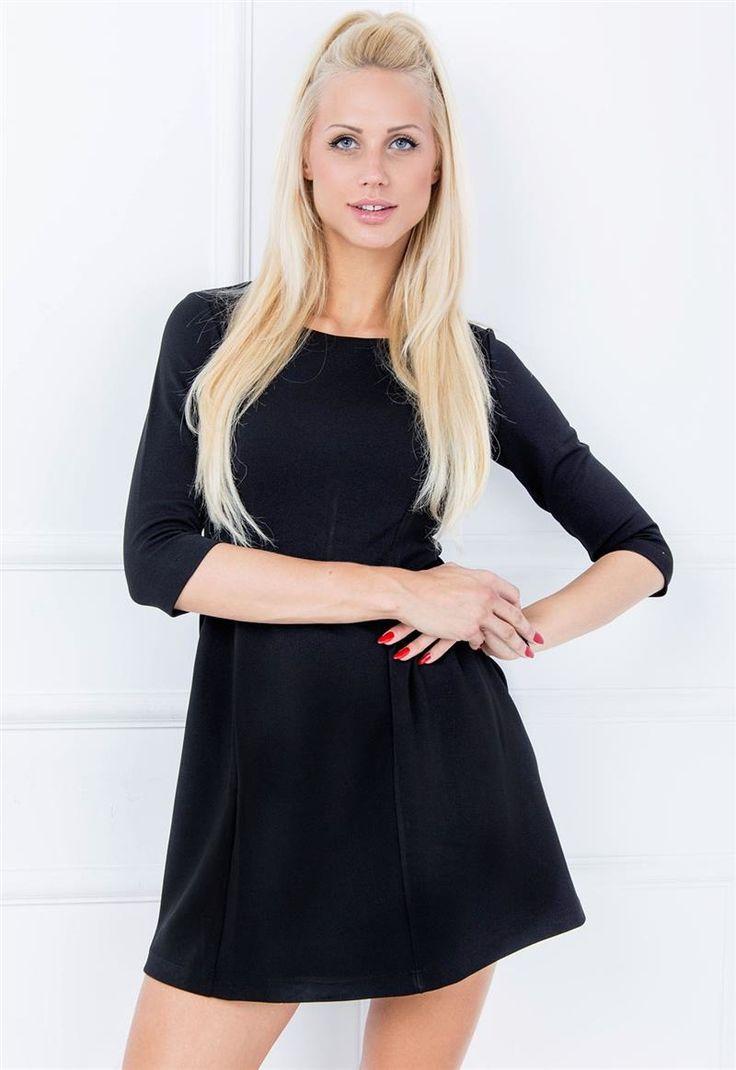 Gładka sukienka z marszczeniami rękawem i 3/4, Ona Odzież Sukienki | Sukienki.shop
