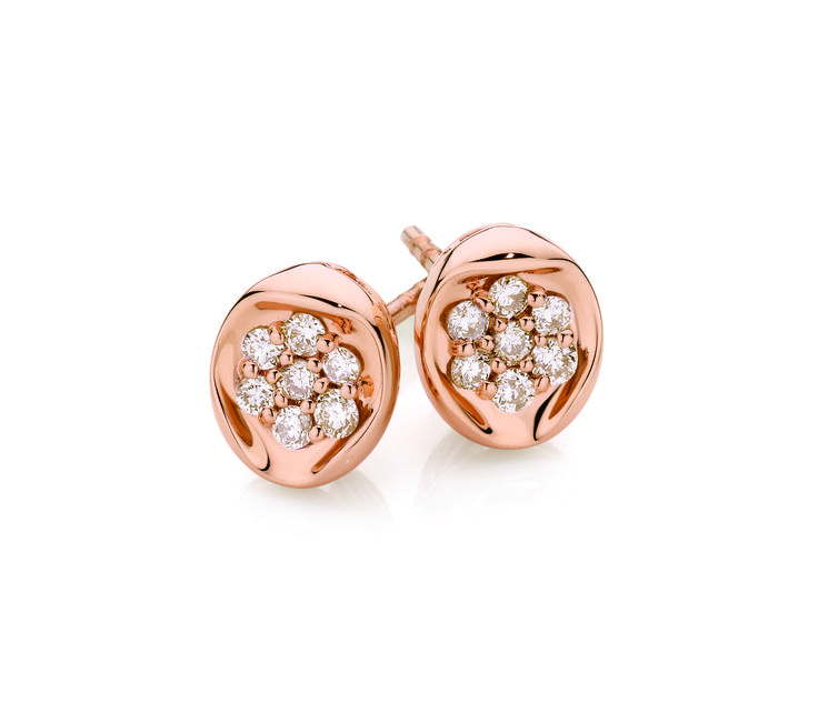 9ct Rose Gold 0.20ct Diamond Stud Earrings with Dreamtime Australian Diamonds