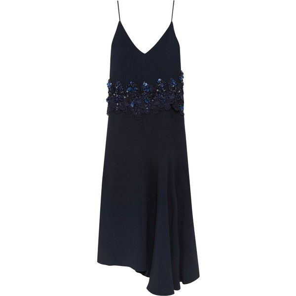 BIYAN  Ananda asymmetric embellished guipure lace-trimmed crepe dress ($575) ❤ liked on Polyvore featuring dresses, navy blue dress, blue embellished dress, navy blue asymmetrical dress, crepe dress and crepe fabric dress