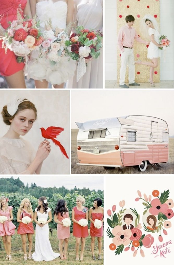 red + blush pink wedding inspiration ~ a modern, bright and playful colour combo: