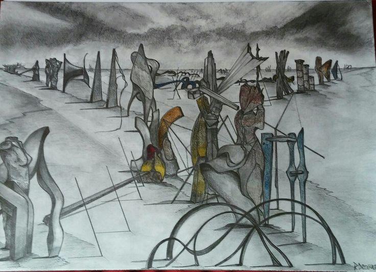 Dibujo. Serie Teoremas y Memoria  Raúl Droguett.