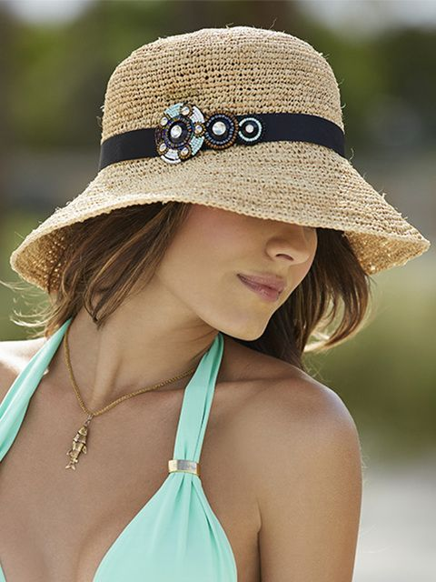 Sombrero Natural Con Accesorio. Marca Onda de Mar