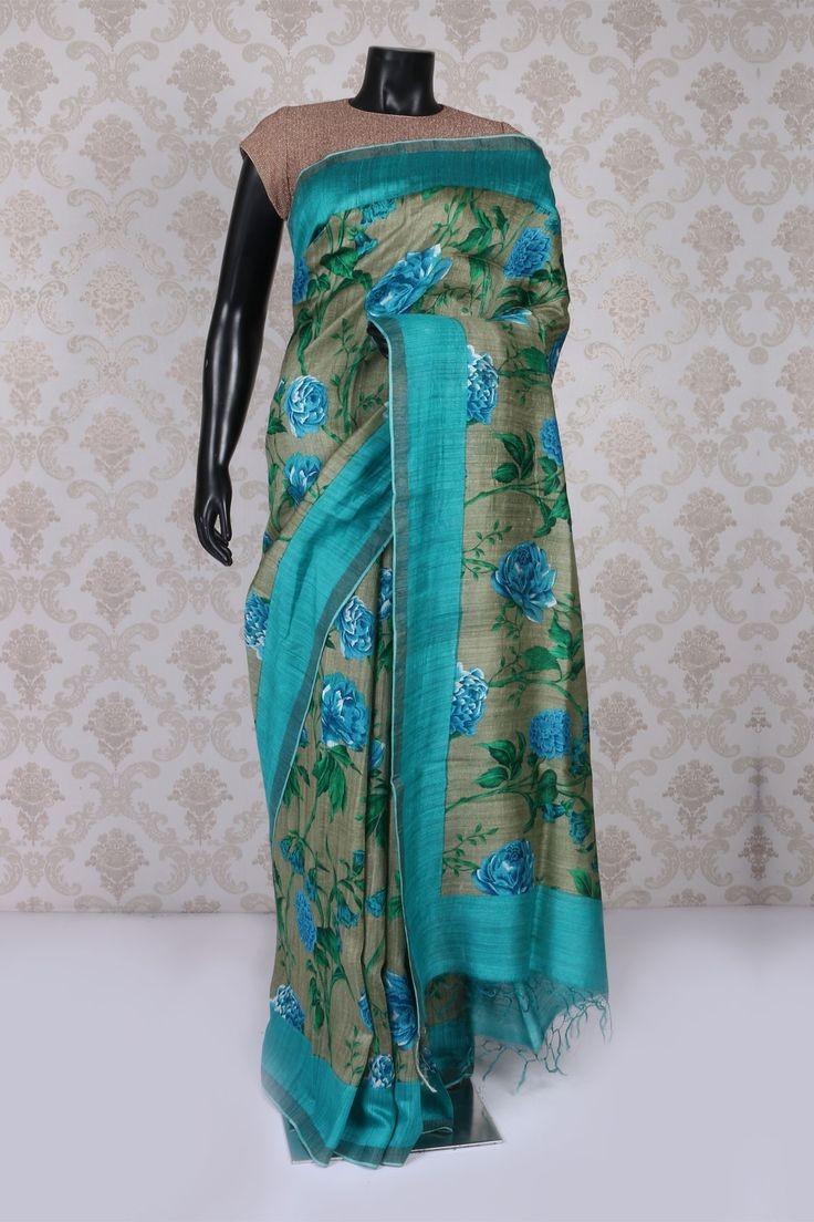 Light olive #green multicoloured tussar silk #gorgeous saree with turquoise #blue border -SR11013