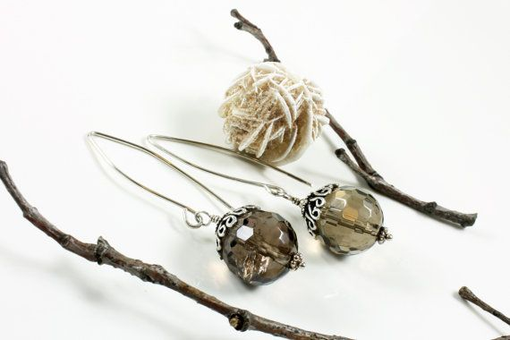 Smoky quartz earrings with sterling silver grey by AliraTreasures