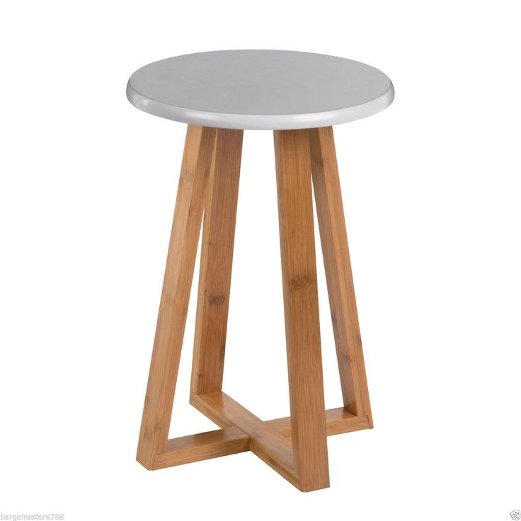 Viborg Grey Seat Stool Round Breakfast Bar Rest Bamboo Wood Base Legs Chair New in Home, Furniture