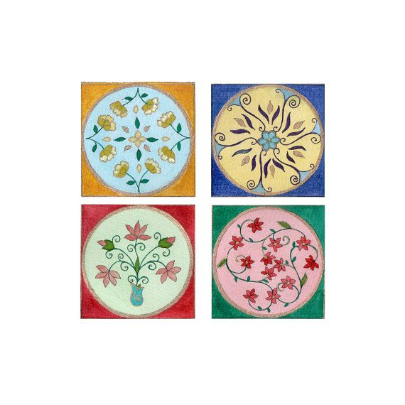 Coasters floral designs 9x9cms set of 4 FREE by bitsanbobsanbags