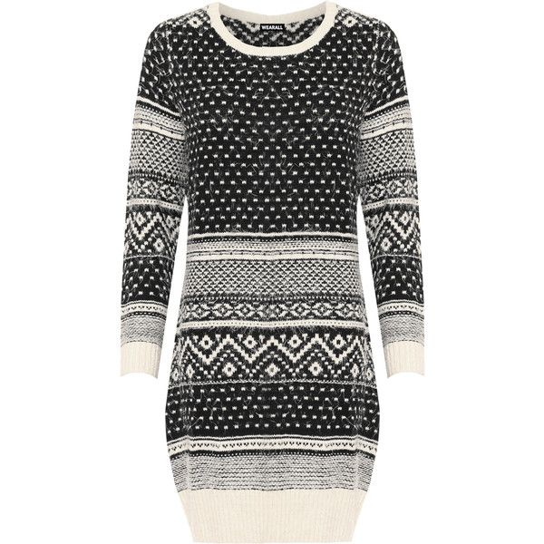 Liara Fluffy Aztec Jumper ($39) ❤ liked on Polyvore featuring tops, sweaters, black, plus size, holiday party tops, long sleeve going out tops, round neck sweater, aztec top and jumper top