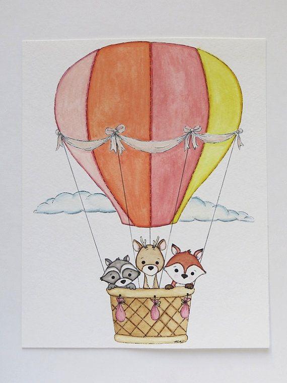 Original-Gemälde Aquarell Kindergarten Malerei von Waterblooms