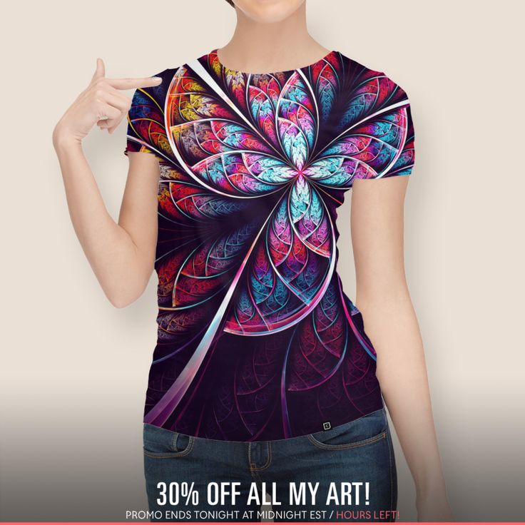 SALE!!!  Discover «Abstract Flower», Numbered Edition Women's All Over T-Shirt by Oksana Ariskina - From $39 - Curioos