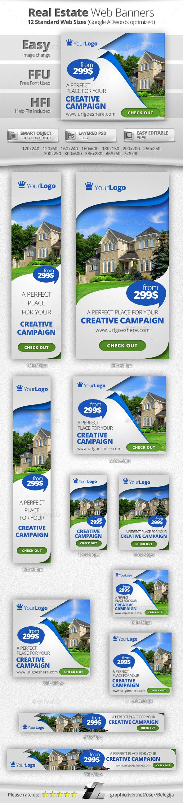 Real estate billboard design samples - Multipurpose Real Estate Web Banners