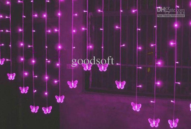 Frete grátis borboleta LED cortina luzes String diodo emissor de luz luzes de Natal