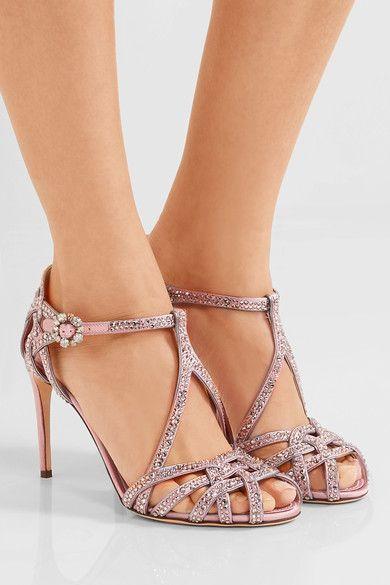 Dolce & Gabbana - Keira Crystal-embellished Satin Sandals - Pink