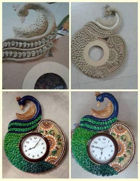 Procedure of making peacock wall clock