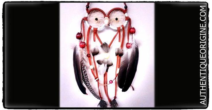 Capteur de rêve Hibou #au0013-01 35$+TX - Plumes de bernache du Canada et plumes de pintade