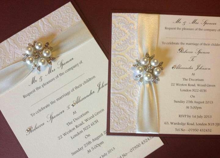 The Luxury Regency Boutique Wedding Invitations From Chosen Touches Of Halifax Has A Embossed Vintage Damask Design With Gorgeous Pearl And Diamante