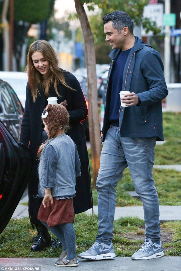 Hot beverages: The family of four stopped off at Verve Coffee in West Hollywood where Jess...