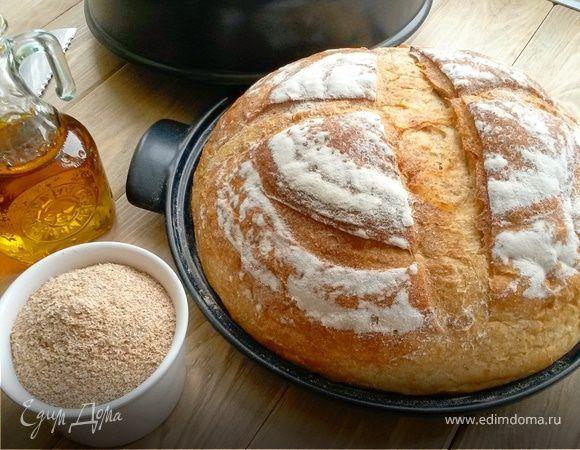 Пшеничный хлеб (батон) с отрубями. Ингредиенты: вода, дрожжи свежие, сахар
