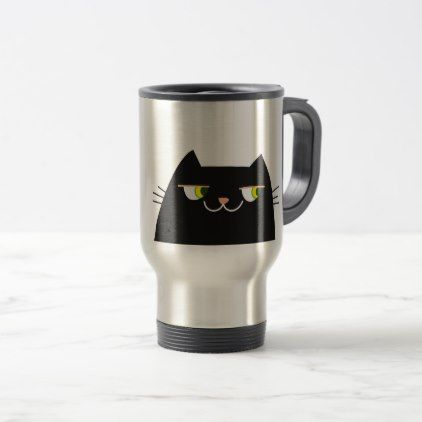 Cat Black Hot Devil Funny Good Person Cartoon Cool Travel Mug - good gifts special unique customize style