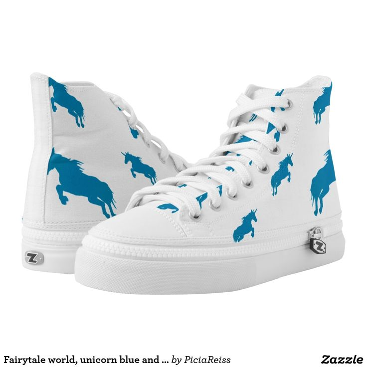Fairytale world, unicorn blue and white pattern printed shoes