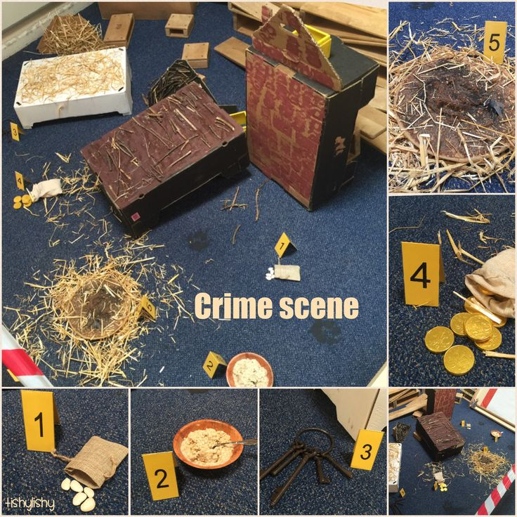 "Crime scene with a ""once upon a time"" theme. 5 different clues and wolf prints."