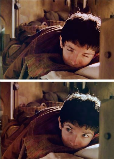 """I'm rewatching the series at my grandmas...my grandma sighed happily and said """"watching this again...it's like seeing old friends!"""" Here's a pic of what we call baby Merlin :) (season 1 Merlin) lol"""