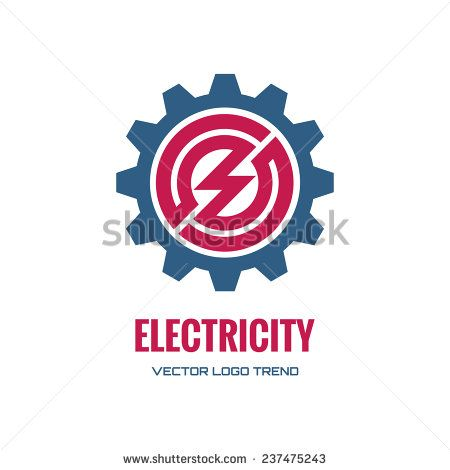 Electricity – vector logo template concept illustration. Gear factory sign. Technology mechanical symbol. Design element.