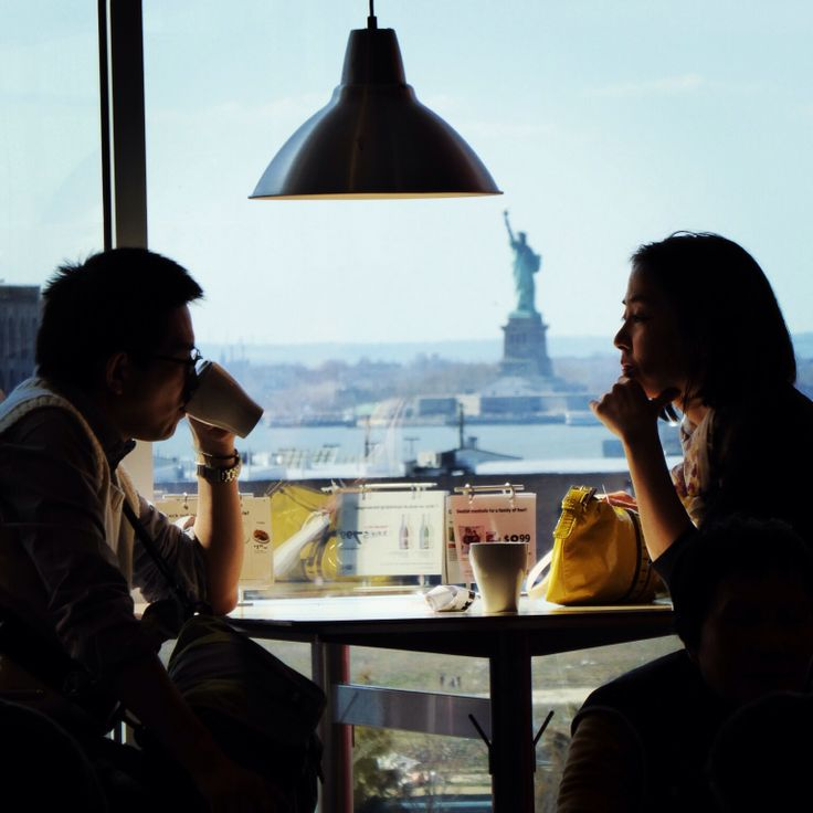 The Statue of Liberty seen from the cafeteria at IKEA Brooklyn