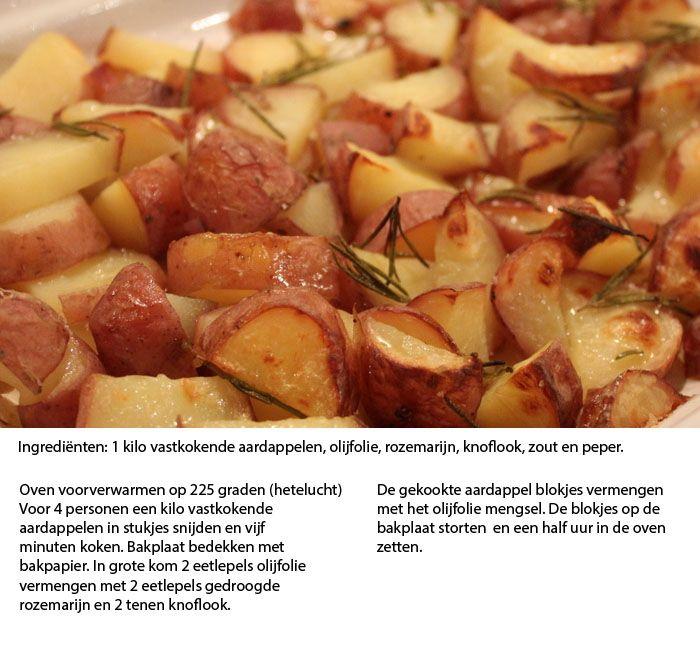 Gebakken aardappels met rozemarijn en knoflook. Menu - Vooraf tilapiapaté met gerookte forel, Hoofd: Pollo al Marsala, gebakken aardappeltjes met rozemarijn en knoflook, Courgettesalade met broccolipesto, Dessert: Roomijs met frambozen