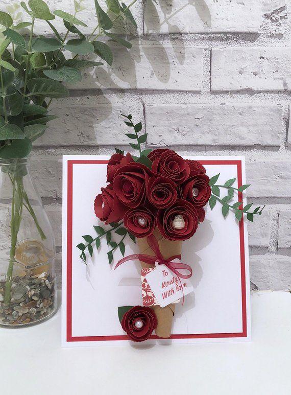 Large 3d Rose Bouquet Card 3d Flower Card Paper Rose Card