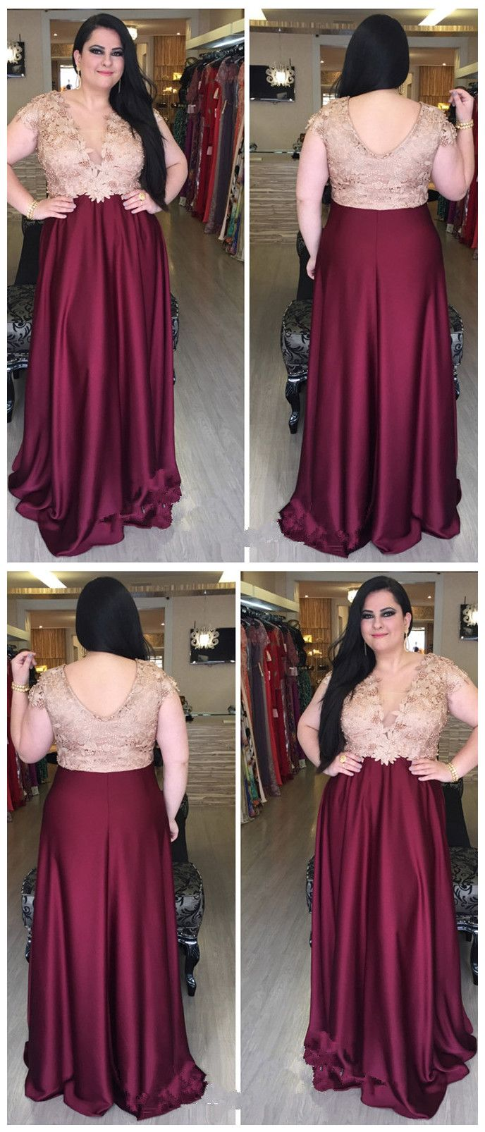 aline v neck burgundy plus size prom dresses custom long prom