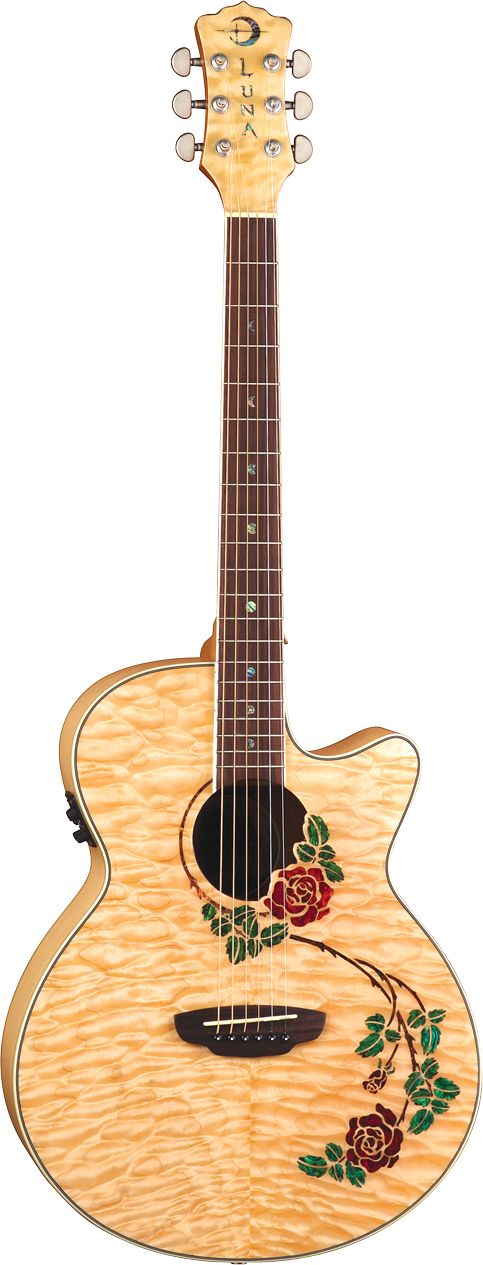 Symbolism of Rose Guitar - The rose is one of the most important symbols in the world. A red rose represents love, respect, courage and passion.Luna Guitars' Rose embraces the sound hole and trails gracefully onto the lower bout. The red tinted abalone blossoms are stunning against the blonde quilt maple top. A remarkable instrument to give voice to your own love and passion through music.