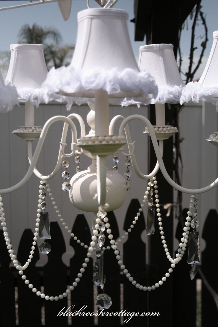 """Shades were dyed the softest Champagne pink and embellished with silk rosettes. This Chandelier was created by Amber of """"Black Rooster Cottage"""""""