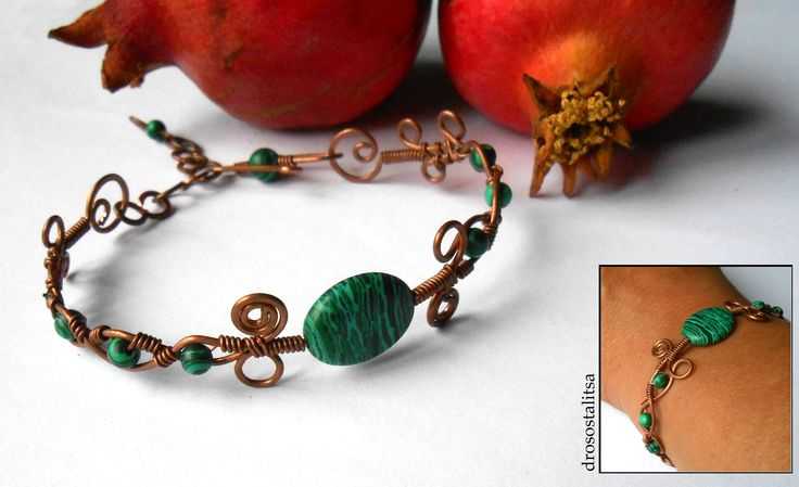 handmade copper wire bracelet   with malachite beads