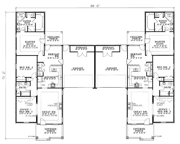 Duplex plan chp 21233 at 2x living for Ranch style duplex plans