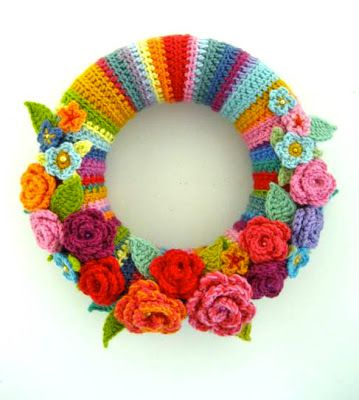 The Wreath Blog: Crocheted May Rose Wreath from Attic 24