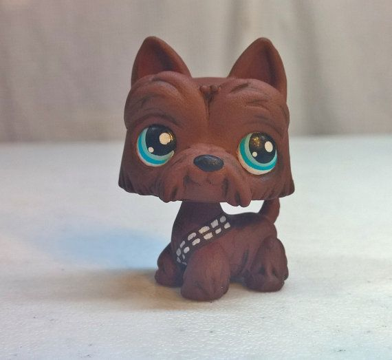 Chewbacca (Chewy) from Disney Star Wars - Wookie inspired dog - OOAK Custom LPS Littlest Pet Shop - Handmade Hand Painted