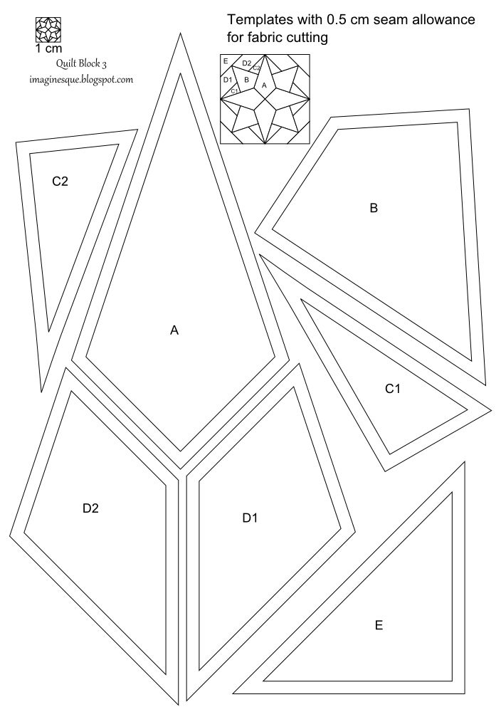 Imaginesque Quilt Block 3 Pattern And Templates