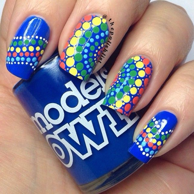 Instagram media by thepolishlist - Day 21 - Aboriginal for #nailartjun. I found an amazing piece of art and just copied what would fit & look good on my nails. I used @modelsownofficial True Blue for the base & then paints and dotting tools to create the pattern!
