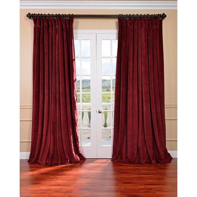 exclusive fabrics burgundy velvet blackout extra wide curtain panel by exclusive fabrics