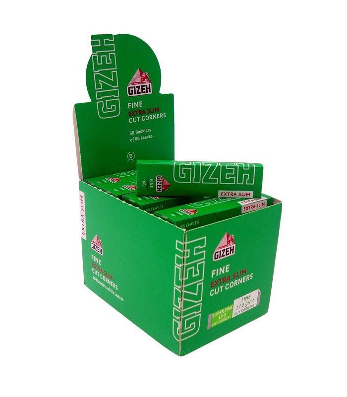 Un pachetel de Foite Gizeh slim pentru rulat tigari contine 66 buc. foite.  Ambalaj:  66 foite/pachetel  Lungime: 67 mm  Latime:    28 mm  Colturi rotunjite.