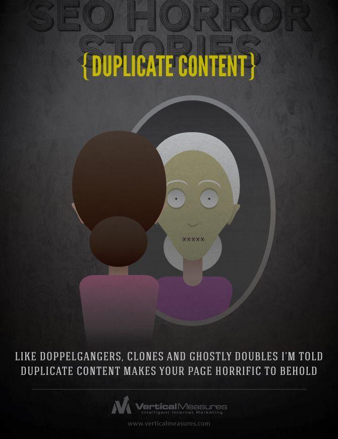 """Erin Pritchard tarafından verticalmeasures.com'da yayınlanan """"SEO Horror Stories: Search, Social and Content Tricks to Avoid"""" adlı eğlenceli içerik, arama motoru optimizasyonu ipuçlarına korku türüne öykünerek yer veriyor. #seo #optimizasyon #marketing #pazarlama #dijitalpazarlama #infografik #infographic #design #sosyalmedya #socialmedia #korku #horror #socialbusiness #social #business"""