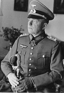 Paul Ludwig Ewald von Kleist (8 August 1881 – 13 November 1954) was a leading German field marshal during World War II. He was also a recipient of the Knight's Cross of the Iron Cross with Oak Leaves and Swords (German: Ritterkreuz des Eisernen Kreuzes mit Eichenlaub und Schwertern). The Knight's Cross of the Iron Cross and its higher grade Oak Leaves and Swords was awarded to recognise extreme battlefield bravery or successful military leadership.