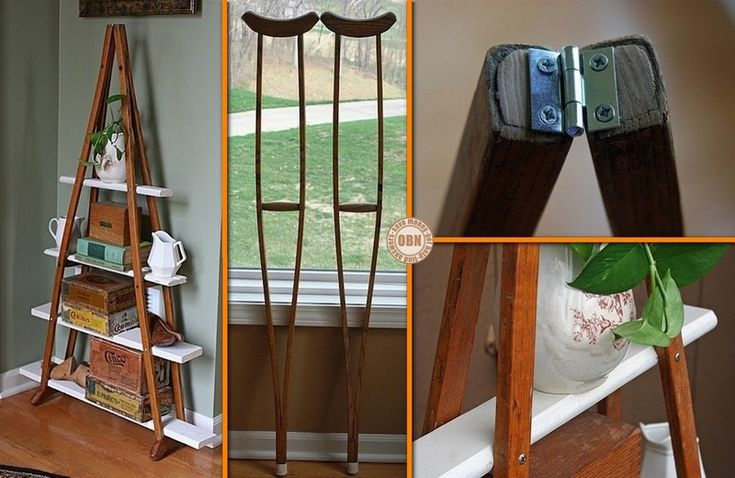 DIY Vintage Crutches Shelf