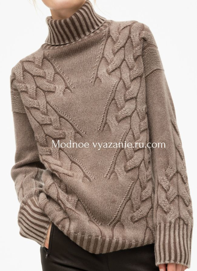 Свитер с диагональными косами Susan от Iris von Arnim - Modnoe Vyazanie ru.com
