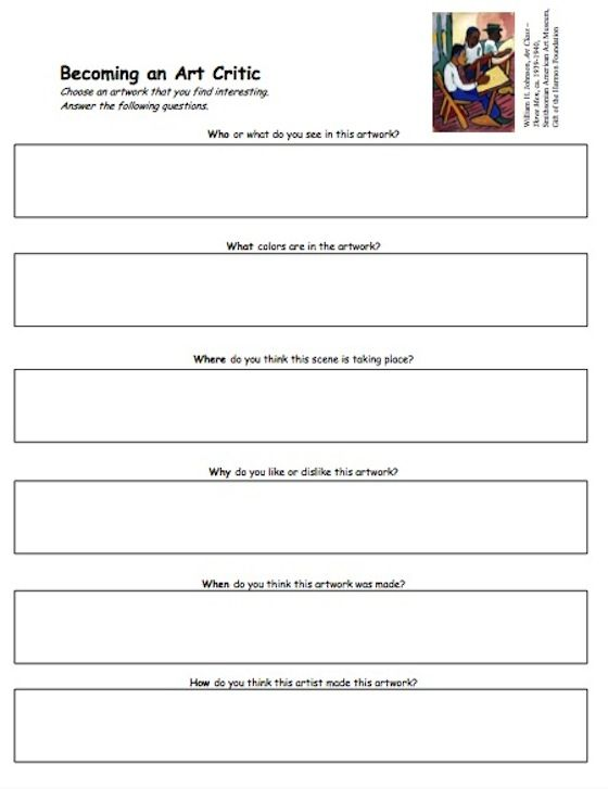 Love this handout from the Smithsonian- check out the whole article on easy art criticism activities on the Art of Ed blog