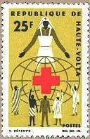 1966 Upper Volta stamp depicting nurse as symbol of Red Cross helping the world
