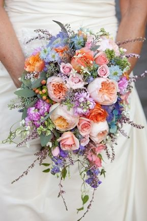 """Spring Cascading Bouquet .. CASCADING BOUQUETS ARE IN! An Orchid bouquet is on the way out. Now I LOVE Orchid's but it's one of those, """"been there, done that"""" type of thing."""