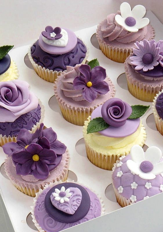 Purple Flower Cupcakes: Visit www.thechocolateflorist.co.uk to find out more about our Chocolate Bouquets; ideal for wedding centre pieces!